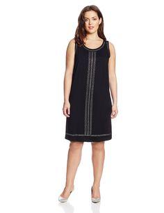bc389992481 Karen Kane Women s Plus Size Fashion Black Isabel Sleeveless Embellished  Shift Dress available at Amazon Women s
