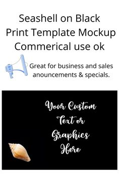 #Seashell on Black Print #Template #mockup perfect for #business announcements, sales and specials, in this styled #productphotography. #Graphics #BusinessTemplate #BusinessMockups Print Templates, Black Print, Business Marketing, Sea Shells, Mockup, Cool Style, Lovers, Graphics, Group