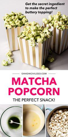 Popcorn Recipes, Dessert Recipes, Desserts, Tea Party Sandwiches, Green Tea Recipes, Matcha Green Tea, Cooking Recipes, Snacks, Vegan