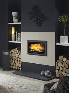 Modern Fireplace That Inspire You To Create Yours Design Inspiration Inviting a fireplace in your living space can be a great idea. It can warp up your room during a cold season. A fireplace should be cozy, thus you sho. Inset Fireplace, Home Fireplace, Fireplace Inserts, Modern Fireplace, Fireplace Surrounds, Fireplace Design, Fireplace Ideas, Fireplace Gallery, Fireplaces
