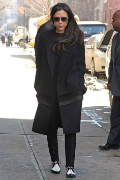 Victoria Beckham pounded the snowy pavements of New York City in a pair of black and white and fabulous-all-over brogues