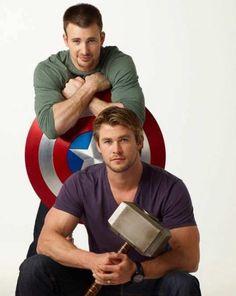 thor/ captain america... chris evans and chris hemsworth.