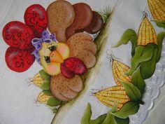 Barrado de Milhos Recortado - Série Barrados da Tecart-Esther. E a pintura que fiz da Galinha que a Lilinha Silva ensinou na TV.