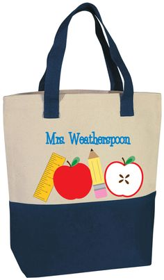 These cute personalized tote designs are a perfect gift idea for teachers! Our roomy, two-tone tote carries teacher's books, groceries, beach gear and more. Made of sturdy cotton canvas.