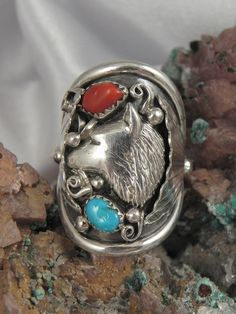 Your place to buy and sell all things handmade Native American Wolf, Native American Rings, Wolf Jewelry, Silver Work, Pictures To Draw, Aurora, Nativity, Jewerly, Best Gifts
