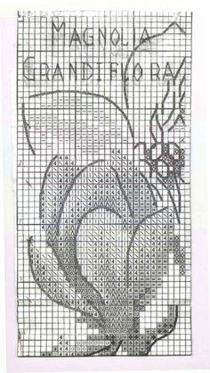 Cross stitch - flowers: Magnolia - bookmark I (chart - part A)