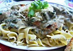 BASIL CREAMED SPINACH with MUSHROOMS- BUFFALO STYLE