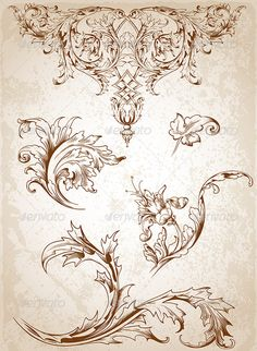 Buy Vintage Victorian Floral Elements by Artness on GraphicRiver. Vector vintage Victorian floral elements for design. Zip file contains fully editable vector file, transparent . Vintage Blume Tattoo, Vintage Flower Tattoo, Tattoo Vintage, Victorian Flowers, Vintage Flowers, Motif Arabesque, Etiquette Vintage, Ornament Drawing, Victorian Design