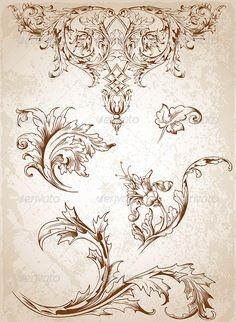 Buy Vintage Victorian Floral Elements by Artness on GraphicRiver. Vector vintage Victorian floral elements for design. Zip file contains fully editable vector file, transparent . Vintage Blume Tattoo, Vintage Flower Tattoo, Vintage Flowers, Tattoo Vintage, Motif Arabesque, Molduras Vintage, Etiquette Vintage, Ornament Drawing, Tatuajes Tattoos