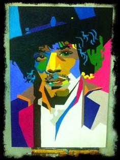 Jimi Hendrix Pintura a óleo sobre tela medida: 100X80cm Artista: Watusi Carulli