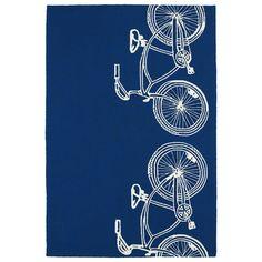 Kaleen Rugs Indoor/ Outdoor Beachcomber Bicycle Navy Rug