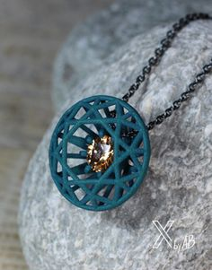 Diamantförmiger Anhänger-Diamond shaped Necklace, 3d Printed Pendant