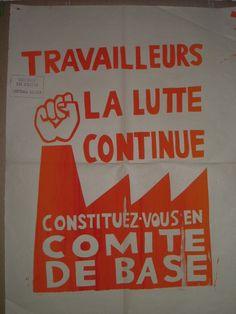 Affiche mai 68 - Travailleurs la lutte continue (Orange)
