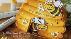 Honey Bee Stamps | Hive Shaped Bees Card - YouTube