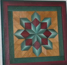 2 WOOD QUILT Framed Art by UNIQUELY JEWELL Vibrant Amish Color-Signed Parquetry   eBay