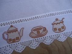 Crewel Embroidery, Cross Stitch Embroidery, Cross Stitch Patterns, Cross Stitch Kitchen, Free To Use Images, Table Linens, Crochet, Diy And Crafts, Hobbies