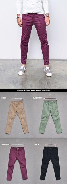 Mens Pigment Wash Slim Drawcord Slacks Pants By Guylook.com