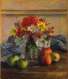 Nora Heysen (Australian, - From a cottage garden, 1935 Harlem Renaissance, Flower Vases, Flower Art, Still Life Fruit, Magic Realism, Light Of Life, Art Deco, Australian Artists, Cubism