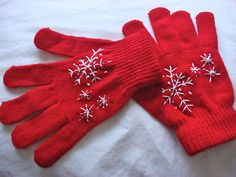 Turn boring store-bought gloves into something unique with a little embroidery.
