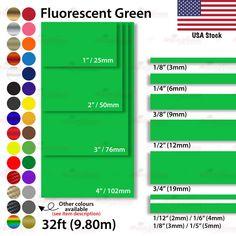 "FLUORESCENT GREEN 25mm 1/"" Roll PIN STRIPE Car Striping TAPE Decal Vinyl Sticker"