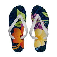 Tropical Flowers  Vines Flip Flops #flipflops #sandals #tropical #flowers #vines #slippers #floral #beach #pool #orange #yellow #purple