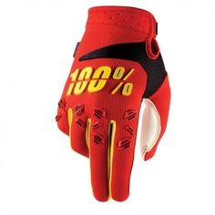 100% Airmatic Red/Yellow Youth Dirt Bike Off Road Riding Motocross Glovex