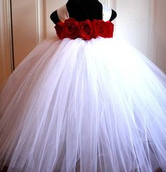 Red White Tutu Dress Flower Girl Tutu by BaileeBoosBoutique