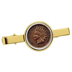 Global American Coin Treasures Indian Penny Goldtone Tie Clip