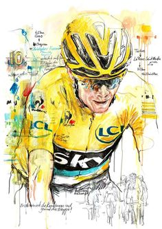 Chris Froome by Horst Brozy Cycling Books, Cycling Quotes, Cycling Art, Chris Froome, Track Cycling, Garage Art, Bicycle Art, Art For Art Sake, Sports Art