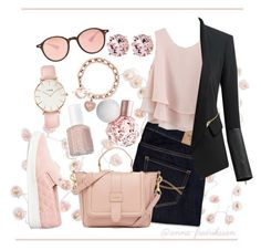 Pink Spring! by anna-fredriksson on Polyvore featuring polyvore, moda, style, Chicwish, Chicsense, Abercrombie & Fitch, Michael Kors, CLUSE, Belk & Co., Ray-Ban, Essie, Talking Tables, fashion and clothing