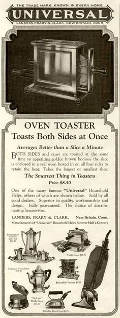 "1924 AD FOR THE UNIVERSAL ""OVEN-TOASTER"" APPLIANCE"