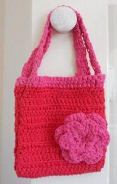 Rood tasje met roze handvatten en roze dubbele bloem zonder knoop - h13 x b12 cm