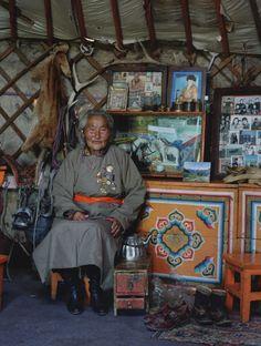 Oh, hello, cute elder in your yurt. #Mongolia