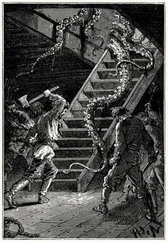 With one blow of the axe, Captain Nemo cut this formidable tentacle, that slid wriggling down the ladder.    Alphonse de Neuville from Vingt mille lieues sous les mers (Twenty thousand leagues under the seas), by Jules Verne, Paris, 1871.    (Source: archive.org)