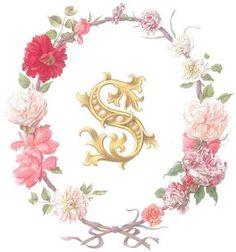 Flowers and monograms. Monogram Design, Monogram Fonts, Monogram Letters, Letters And Numbers, Alphabet Letters Design, S Alphabet, Letter Art, English Alphabet, Cool Lettering