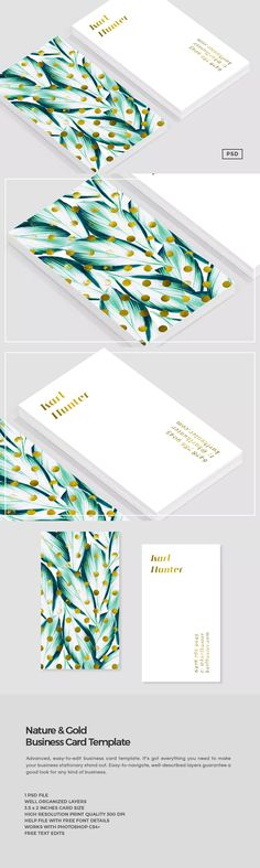 Nature & Gold Business Card Template PSD