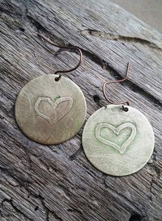Etched Brass Heart Dangle Earrings by bymichelemohr on Etsy