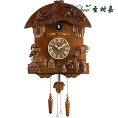 Big cuckoo clock pine sculpture chinese style classical solid wood wall clock kids room decoration