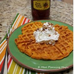 Pumpkin Waffles Recipe from mealplanningmagic.com