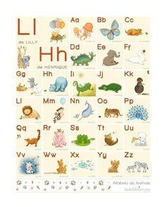 Pôster Alfabeto de Animais Personalizado - 41 x 51 cm