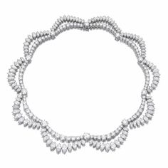 Important Diamond necklace, Harry Winston. Of stylised swag design, set with brilliant-cut and marquise-shaped diamonds, mounted in platinum, length approximately 395mm, unsigned, maker's marks.