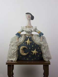textile art doll Lady Nightsky of the Theatre of Tales handmade by Pantovola #textileart #softsculpture #dreamyart #magicalart #nightsky #artdoll #pantovola
