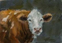 Fluffy Brown Cow on Dark Background by ClairHartmannFineArt, $85.00