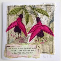 Making more fuchsia greetings cards for the Original Kerry shop in Dingle, though I don't think there will be many fuchsias left in the Dingle hedgerows after Storm Ophelia! Freehand Machine Embroidery, Free Motion Embroidery, Free Machine Embroidery, Embroidery Applique, Fabric Cards, Fabric Postcards, Quilting, Sewing Cards, Patch Aplique