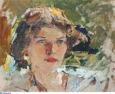 Nikolai Ivanovich Fechin - Female head ( Portrait of Natalia… Artist Painting, Figure Painting, Painting & Drawing, Scale Art, Oil Portrait, Portrait Paintings, Oil Paintings, 26 November, Russian Painting