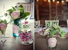 mismatched tea cups and vintage blue jam jars create stunning yet thrifty centrepieces