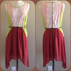 25% Off Gianni Bini Lace Top Sleeveless Dress This beautiful dress features three gorgeous colors peach, lime green and brick red outer shell with white lace overlaying the top back and front.  Open slit back featuring two buttons closer at bottom of neckline and mid back followed by a gold zipper ascending 1/4 down the skirt portion of the dress.  Elastic waistband.Comes with faux leather brown snake skin belt with gold fixture. 100% polyester. Gianni Bini Dresses Midi
