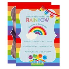 Rainbow candy birthday party invitation birthday gifts party rainbow candy birthday party invitation birthday gifts party celebration custom gift ideas diy birthday party stuff pinterest filmwisefo Image collections