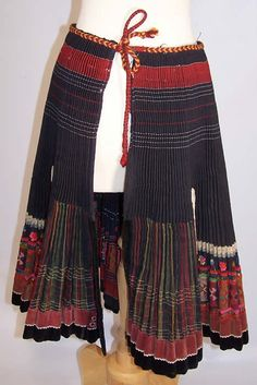 Vintage Slovak Czech Bohemia Folk Costume Pleated Embroidered Apron Skirt