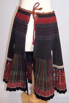 Vintage Slovak Czech Bohemia Folk Costume Pleated Embroidered Apron Skirt